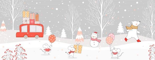 クリスマスと冬のために雪の中で車を運ぶギフトボックスと動物を描きます。 Premiumベクター