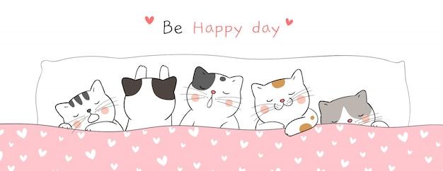 Нарисуйте баннер милый кот спит так сладко мечтать. Premium векторы