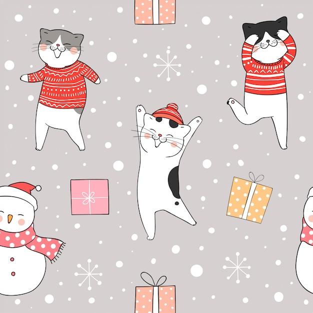 クリスマスと新年の雪の中でシームレスパターン猫。 Premiumベクター