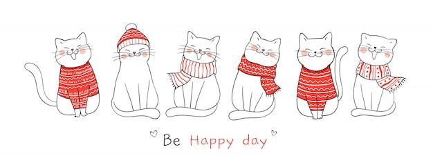 Нарисуйте баннер милый кот на рождество и новый год. Premium векторы