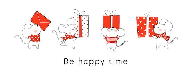 Нарисуйте милую крысу, держащую красную подарочную коробку на рождество и новый год. Premium векторы