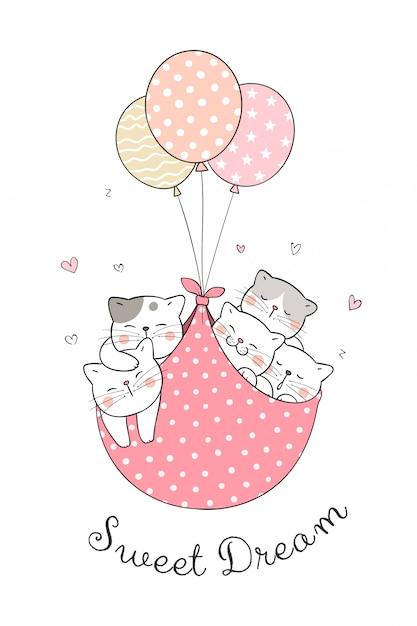 甘い風船で眠っている猫を描きます。 Premiumベクター