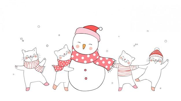 Нарисуйте милый кот и снеговик на белом зимняя концепция. Premium векторы