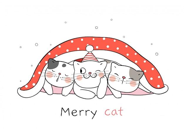 クリスマスと新年のために赤い毛布で猫を描きます。 Premiumベクター