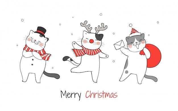 クリスマスと新年に面白い猫を描きます。 Premiumベクター