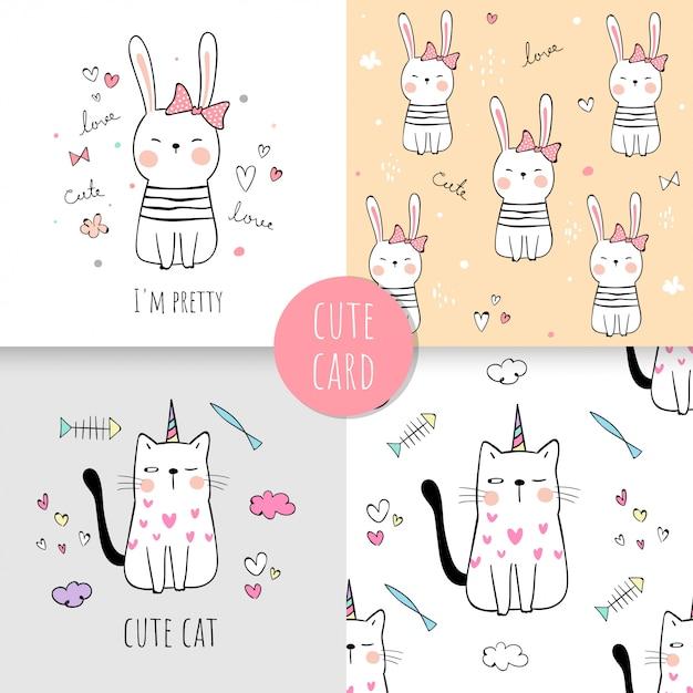 Нарисуйте принт с рисунком кошка и кролик для текстиля для детей. Premium векторы