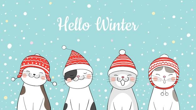 Нарисуйте баннер милый кот в снегу на рождество. Premium векторы