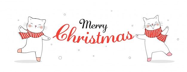 クリスマスに赤いスカーフでバナーかわいい猫を描きます。 Premiumベクター
