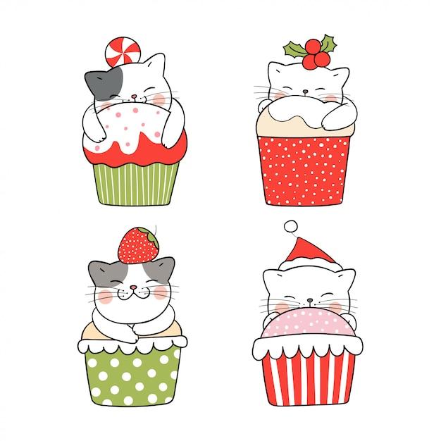 クリスマスにカップケーキで眠っているコレクションの猫を描きます。 Premiumベクター