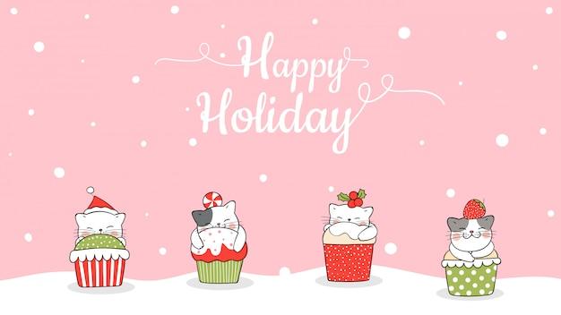 Нарисуйте баннер милый кот в кекс на рождество. Premium векторы