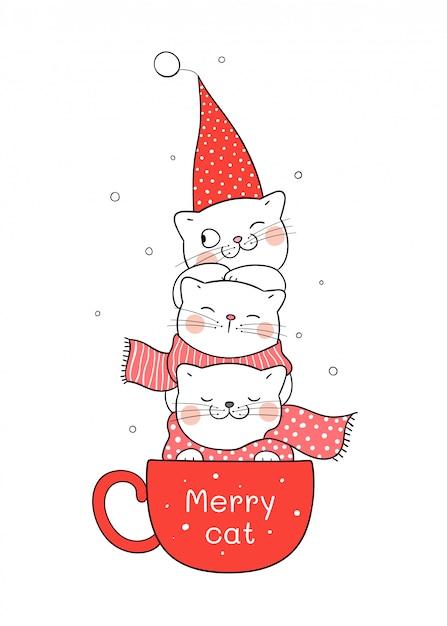Нарисуйте кота в красной чашке кофе на рождество и новый год. Premium векторы