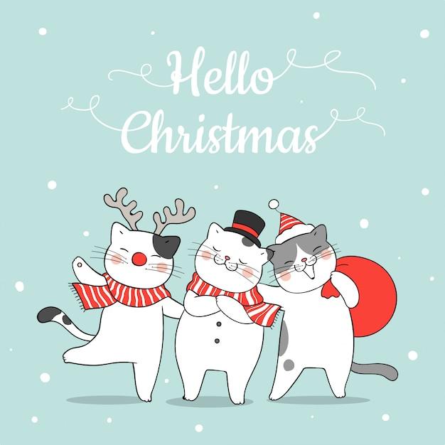 Нарисуйте забавного кота в снегу на рождество и новый год. Premium векторы