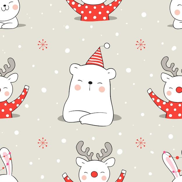 クリスマスに雪の中でシームレスパターン動物を描きます。 Premiumベクター