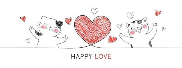バレンタインの日に赤いハートの猫。 Premiumベクター