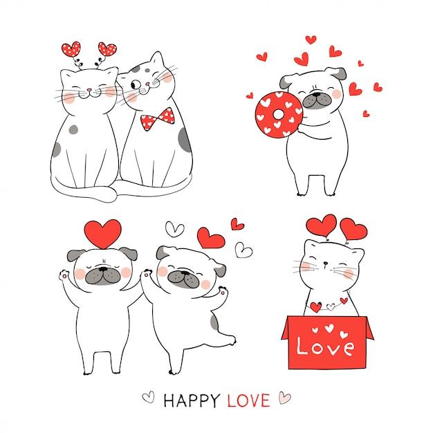 Нарисуйте милый кот и мопс собака с красным сердцем для валентина. Premium векторы
