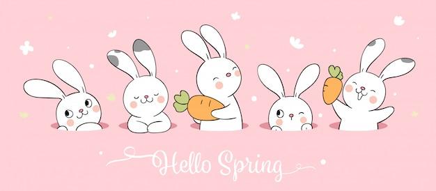 Нарисуйте белого зайчика на розовой пастели для весеннего сезона. Premium векторы
