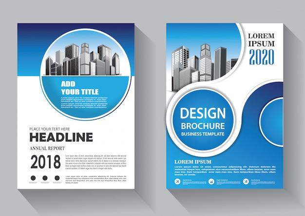 パンフレットや年次報告書のデザインカバーチラシビジネステンプレート Premiumベクター