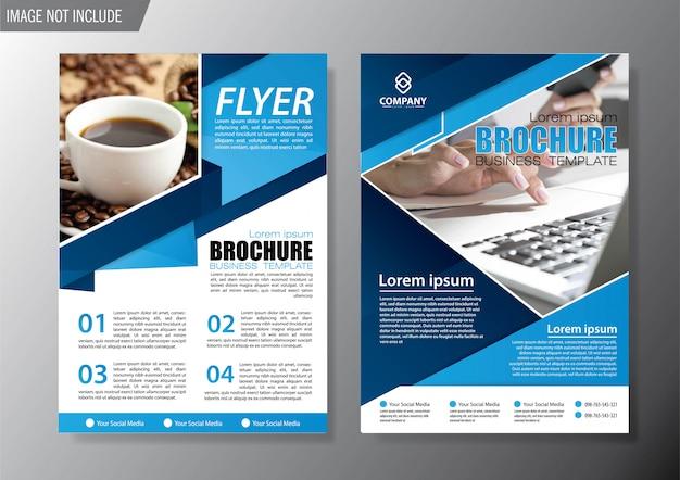 青いカバーチラシとパンフレットのビジネステンプレート Premiumベクター