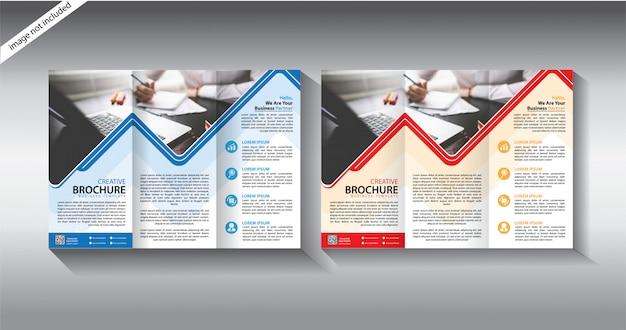 Тройной шаблон брошюры для макета листовки Premium векторы