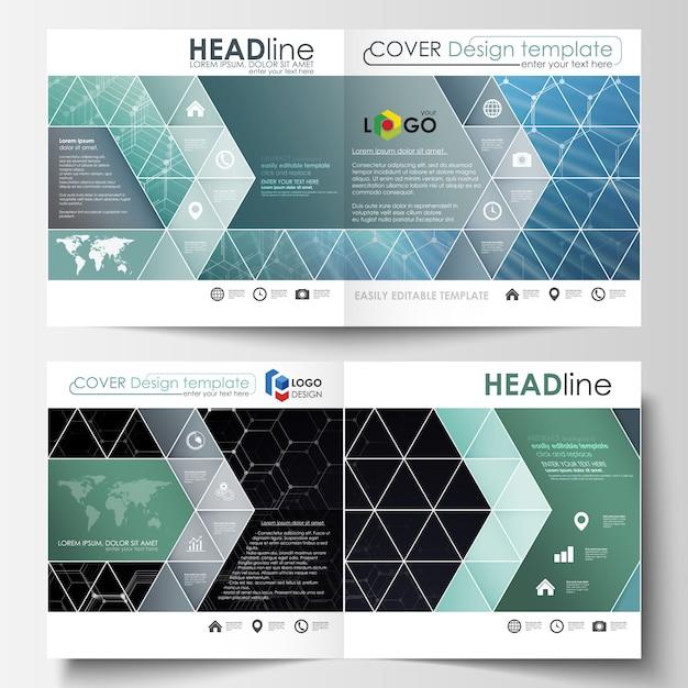 Шаблоны для квадратного дизайна складной брошюры, журнала, флаера. Premium векторы