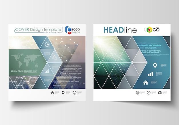 正方形のデザインパンフレット、雑誌、チラシ、小冊子、レポートのビジネステンプレート。 Premiumベクター