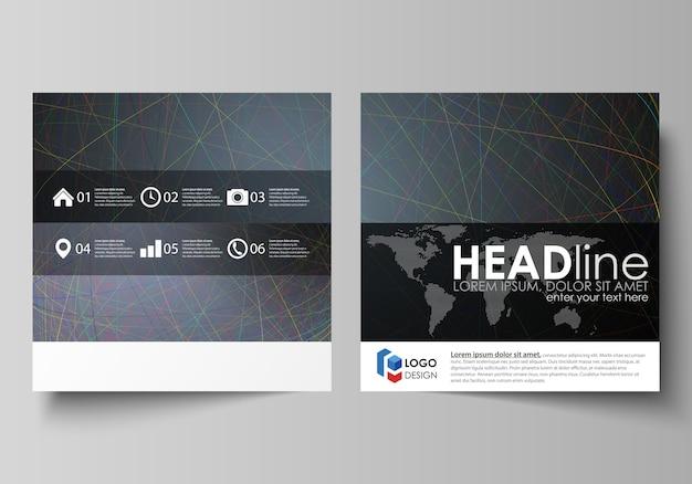 正方形デザインパンフレットのビジネステンプレート Premiumベクター