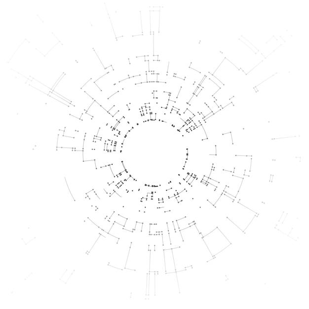 白い背景の線とドットを接続する Premiumベクター