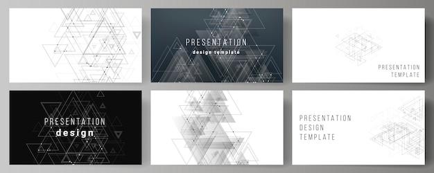 プレゼンテーションのベクトルレイアウトスライドビジネステンプレート、三角形の多角形の背景 Premiumベクター
