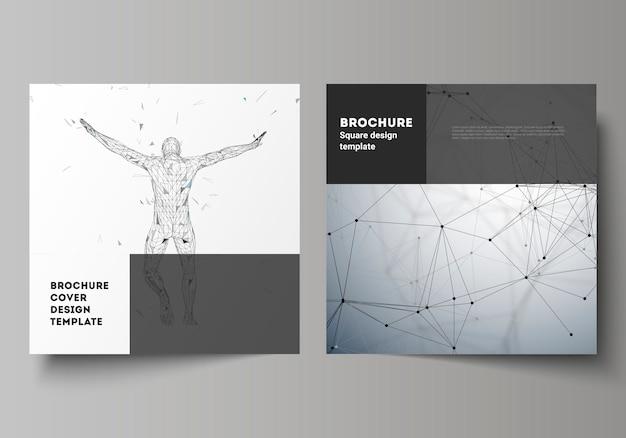 Макет двух квадратных форматов охватывает шаблоны дизайна для брошюры, флаера, журнала, концепции искусственного интеллекта Premium векторы