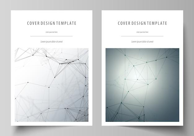 Шаблон бизнес-обложки с генетическими и химическими соединениями Premium векторы