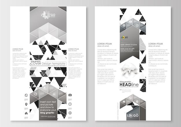 ブログのグラフィックビジネステンプレート。ページのウェブサイトテンプレート。抽象的な三角形のデザイン Premiumベクター