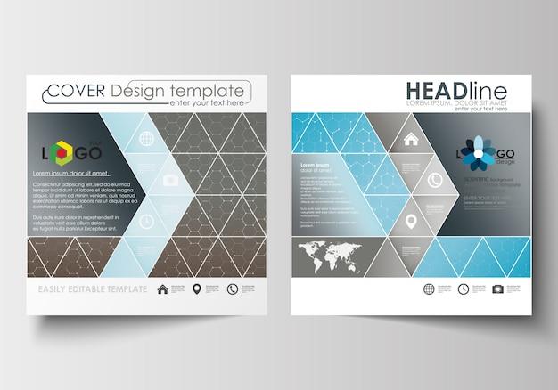 Бизнес-шаблоны для квадратной брошюры, журнал, флаер. Premium векторы