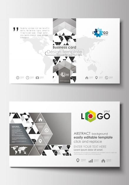 名刺テンプレート。カバーテンプレート。抽象的な三角形のデザインの背景 Premiumベクター