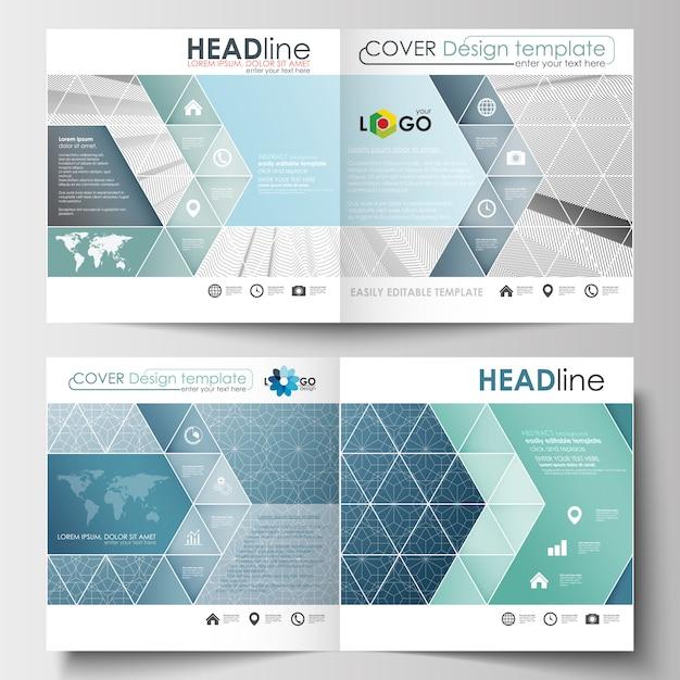 スクエアデザインのパンフレット、チラシ、レポート用のビジネステンプレート Premiumベクター