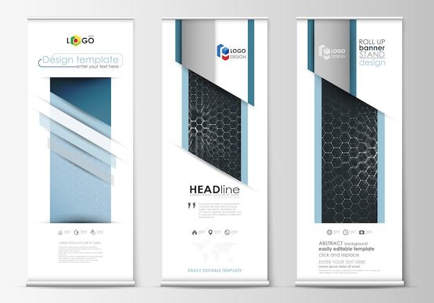 ロールアップバナースタンド、抽象的な幾何学的なスタイルのテンプレート、企業の垂直ベクトルチラシ、旗のレイアウト。 Premiumベクター