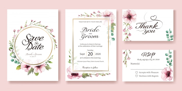 結婚式招待状。アネモネの花。水彩スタイル。 Premiumベクター