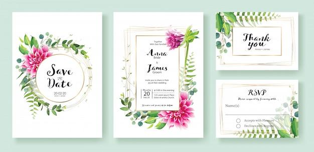 ピンクのダリアの花の結婚式の招待状 Premiumベクター