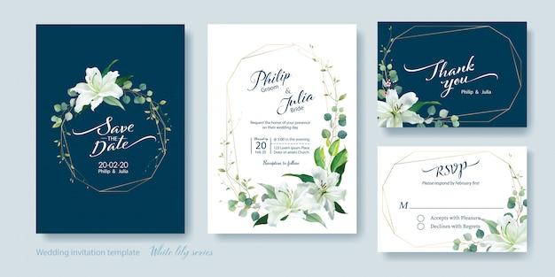 白いユリの花の結婚式の招待状 Premiumベクター