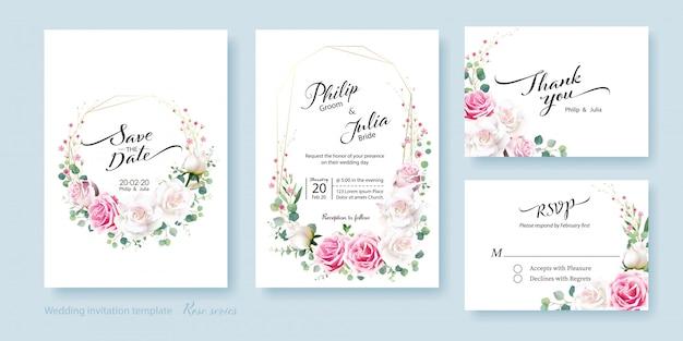 白とピンクのバラの花の結婚式の招待状 Premiumベクター