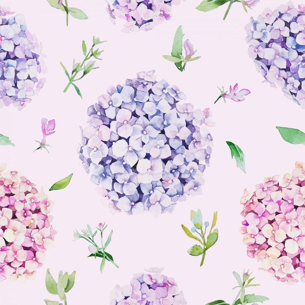 シームレスな花柄。水彩画のスタイル、アジサイの花。 Premiumベクター