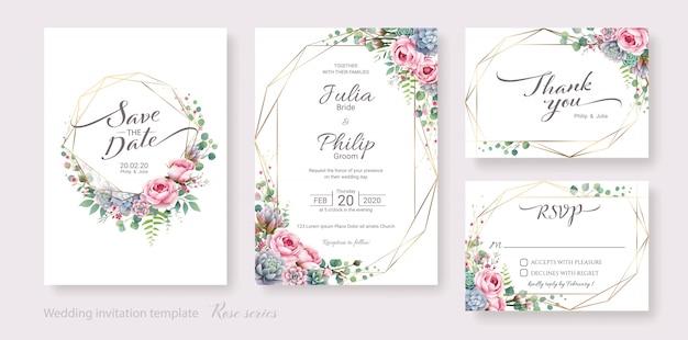 Набор свадебных шаблон пригласительного билета. сочные и розовые цветы. Premium векторы