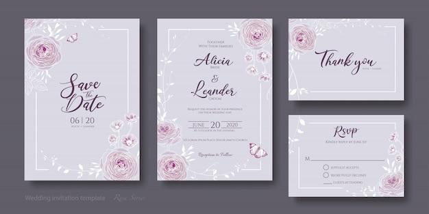 Набор цветочных приглашений на свадьбу Premium векторы