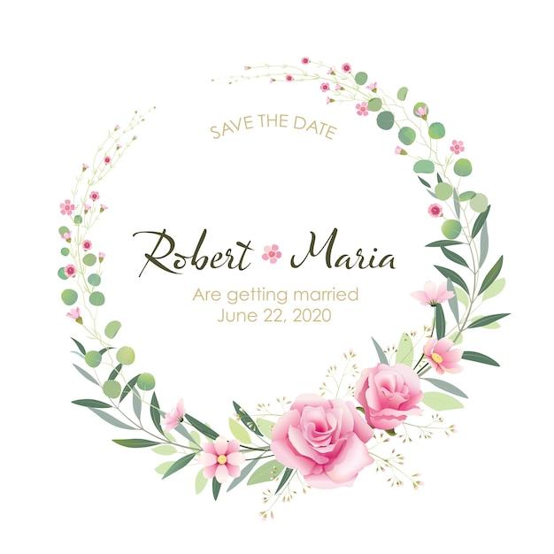 美しいピンクの花結婚式招待状 Premiumベクター