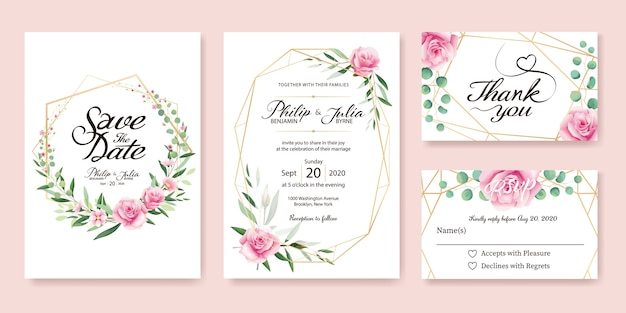 ピンクローズ結婚式招待状。 Premiumベクター
