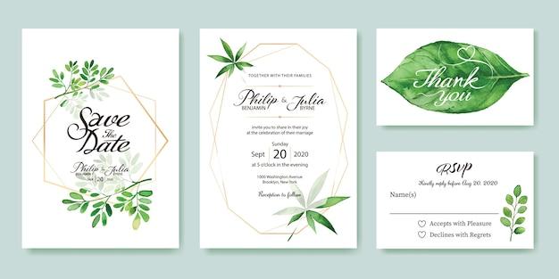 結婚式招待状を残します。 Premiumベクター