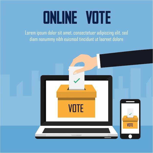 Выборы президента. онлайн концепция голосования Premium векторы