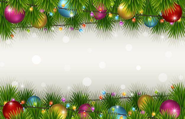 モミの木の枝とクリスマスの背景 Premiumベクター