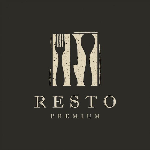 Плоский ресторанный логотип Premium векторы