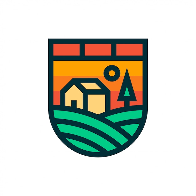 Ферма пейзаж логотип и значок. Premium векторы