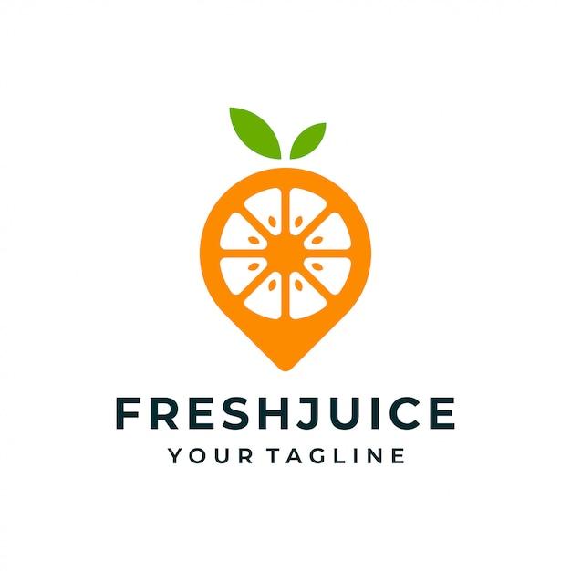 Оранжевый фрукт булавка логотип и значок. Premium векторы